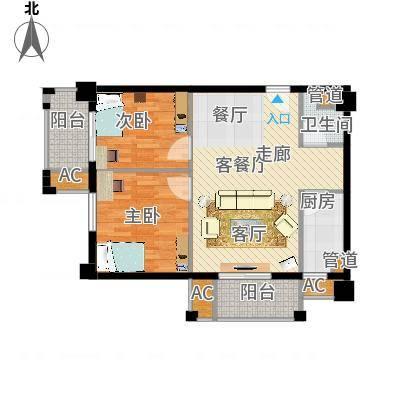 爵士湘二期79.07㎡6号栋D6户型2室2厅1卫1厨-副本