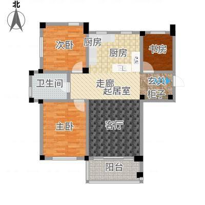 远洋假日养生庄园100.00㎡B-3洋房 三室二厅一卫户型3室2厅1卫-副本