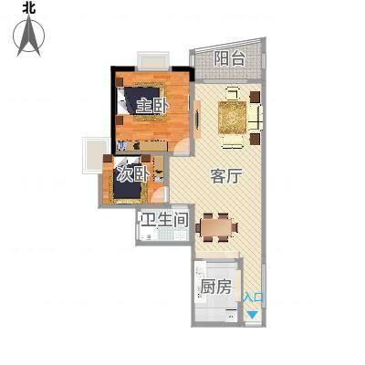 盛和新都会1栋标准层04、05户型2室1厅1卫1厨-副本