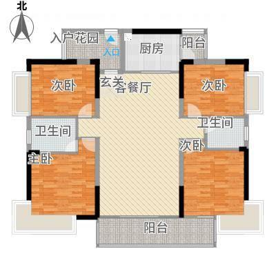 金山湖卧龙传说B1户型,4室2厅2卫,约142.75平米