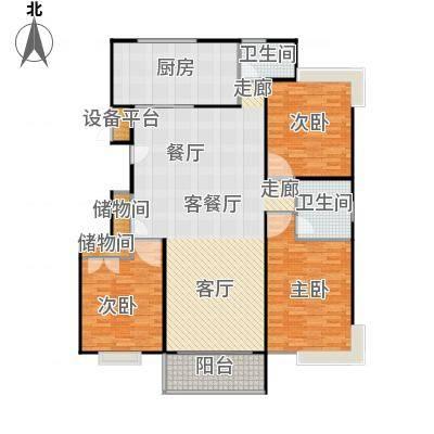 金铭福邸三期138.00㎡房型: 三房; 面积段: 138 -144 平方米; 户型-副本