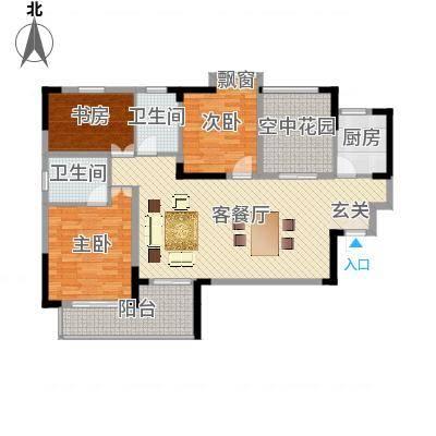金域城邦32124.33㎡F户型3室2厅2卫1厨-副本