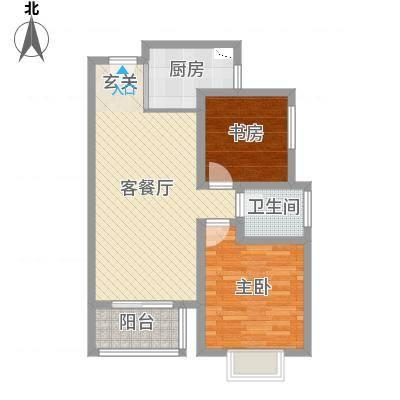 世纪之门81.12㎡5号楼B户型2室2厅1卫1厨-副本