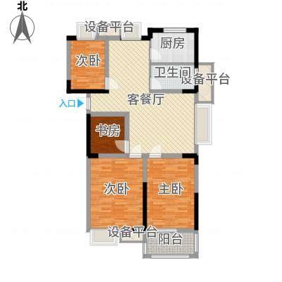 金都华府115.50㎡一期5-10号楼标准层G户型4室2厅1卫1厨-副本
