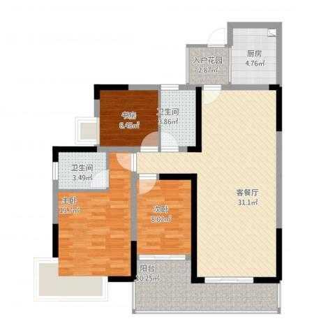 金山湖卧龙传说A1A2户型,3室2厅2卫,约101.53平米-副本