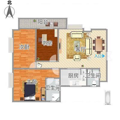 衍宏康馨花园2期82.57㎡A户型3室1厅1卫1厨-副本
