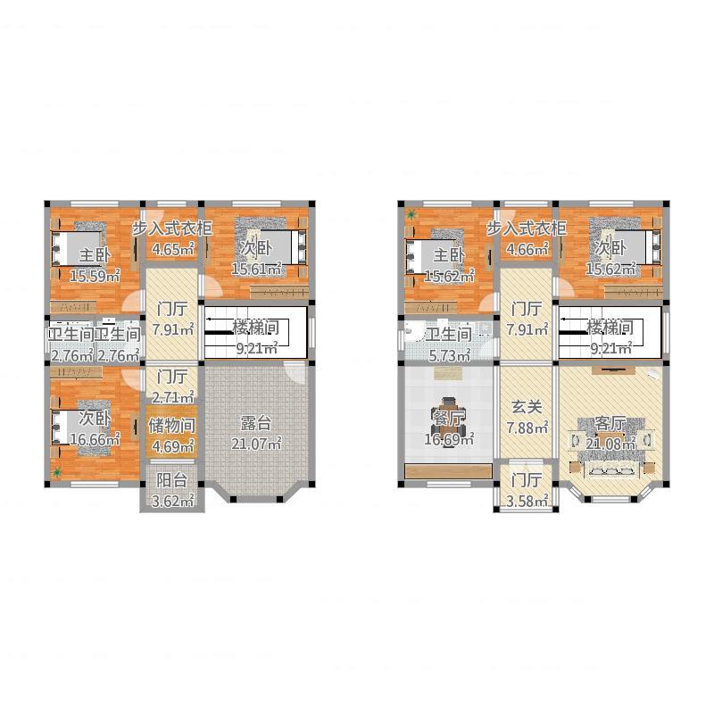 80平方自建房设计图1层-7万_8万农村别墅设计图-70平方的房子设计图片图片