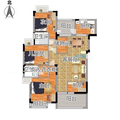 太阳湾122.00㎡太阳湾户型图21\22\23栋B户型3室2厅2卫1厨户型3室2厅2卫1厨-副本