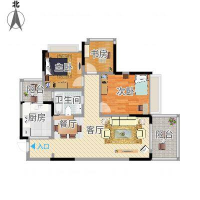 """万科悦峰89.00㎡110315转-07""""2+1""""室双阳台户型3室1厅1卫1"""