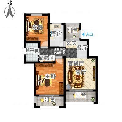 星河蓝湾88.00㎡星河蓝湾户型图J3户型2室2厅1卫1厨户型2室2厅1卫1厨-副本