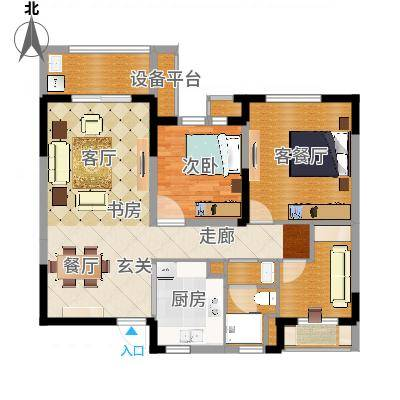 景瑞望府88.00㎡A户型3室2厅-副本