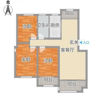 枫林绿洲115.00㎡3-2-1户型3室2厅1卫1厨-副本