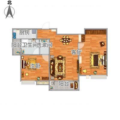 国泰润园104方B户型两室两厅-副本-副本