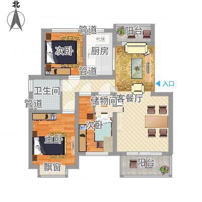 共富新家园93.00㎡上海户型3室1厅1卫1厨-副本