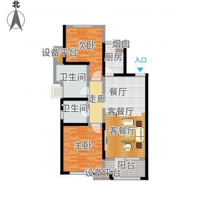 铂悦山84.00㎡B2户型区间84-119平户型3室2厅1卫-副本