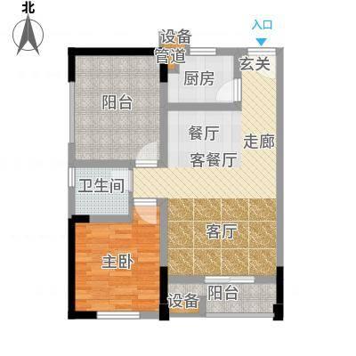恺信时代天城74.06㎡一期标准层E5户型2室1厅1卫1厨-副本