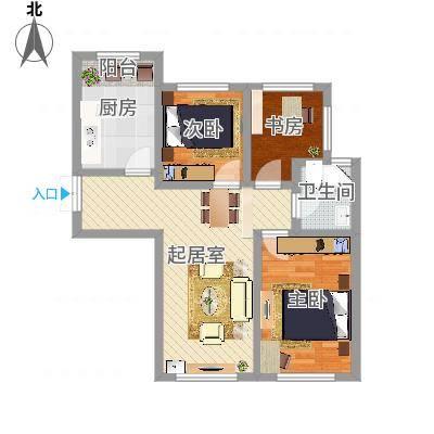 香榭丽舍二期A3户型3室1厅-副本