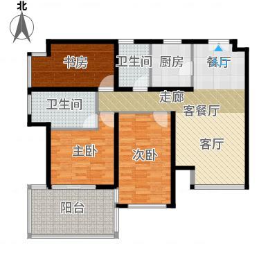 K2清水湾112.00㎡2-5#GX-2(偶)户型3室1厅2卫1厨-副本