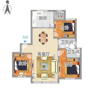 百丈花园三室两厅两卫(任务1)