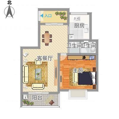 BOBO城F户型-一楼1室2厅1卫1厨(编号11)