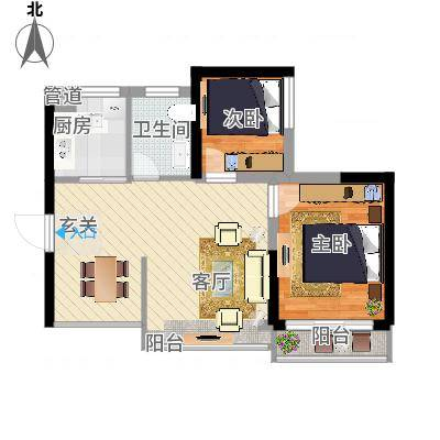 爱琴海56.43㎡7栋05户型2室2厅1卫1厨-副本