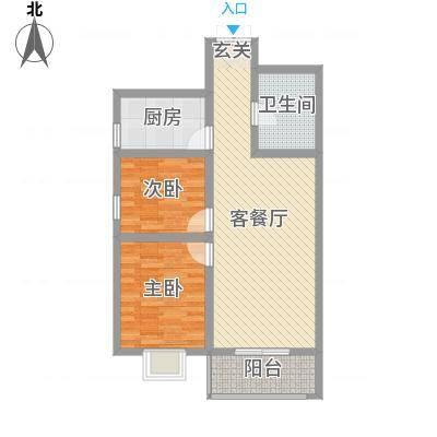 御景紫苑87.63㎡B户型2室2厅1卫1厨-副本