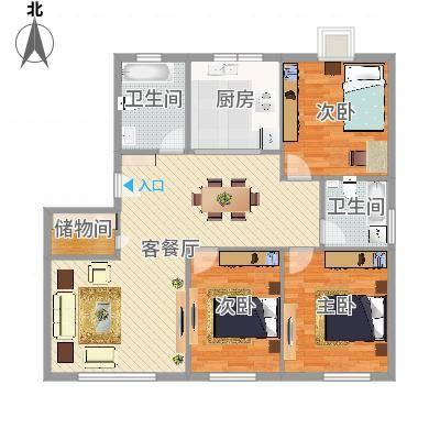 华光城3室2厅2卫1厨105.00㎡(任务2)