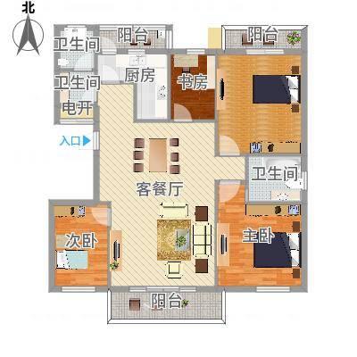 常青藤·小城3室2厅2卫1厨149.75㎡(任务2)