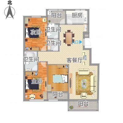 常青藤·小城3室2厅2卫1厨134.48㎡(任务2)