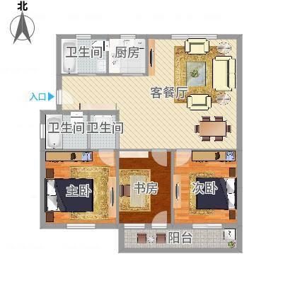 兰亭绿源3室2厅2卫1厨119.00㎡(任务5)