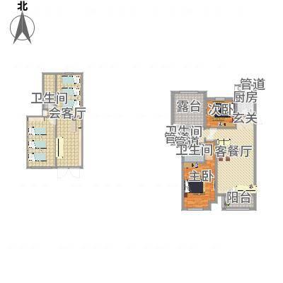 龙达新天地116.48㎡D1户型3室2厅2卫1厨-副本