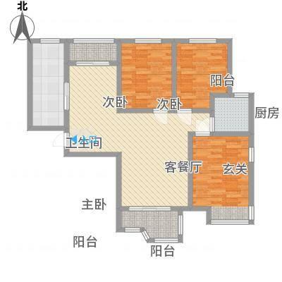 天玺国际124.14㎡D户型3室2厅1卫1厨-副本
