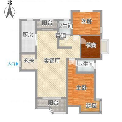 天玺国际14.00㎡玺台铭邸户型3室2厅2卫1厨-副本