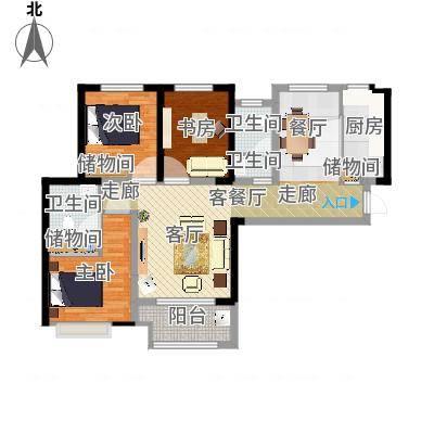 乐豪斯-宝龙城三室两厅两卫Hs003