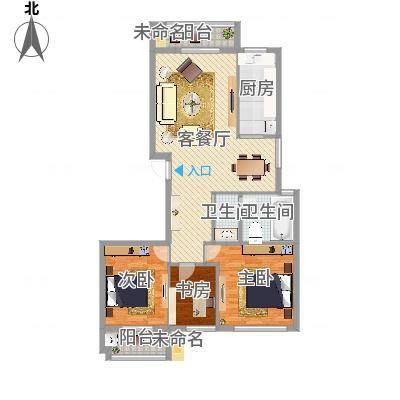 柳岸晨韵D户型3室116.00㎡(任务7)