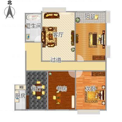 浐灞1号三居室的户型图-副本