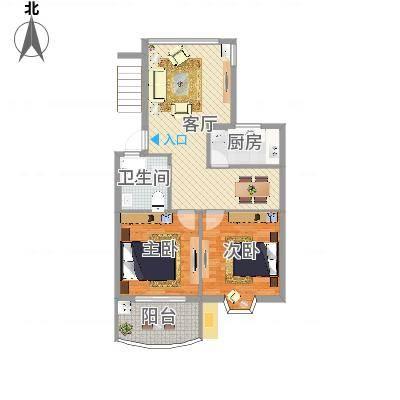 怡江春色C户型两室两厅82平(任务6)