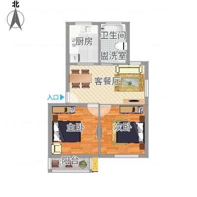 两室一厅一卫-两房朝南(广厦怡庭60m2)