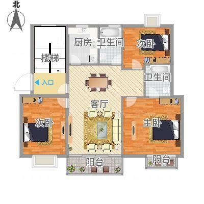 三室两厅两卫-三房朝南(东方瑞市)