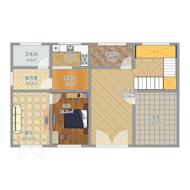 户型设计 四间两户一层平面图  江苏 徐州 0516 套内面积:129.