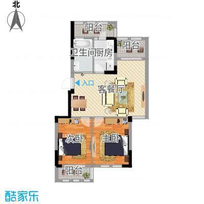 两室两厅一卫—两卧朝南—三阳台(格兰春天88㎡)