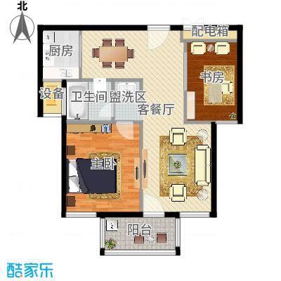 两室两厅一卫—两房朝南(嘉悦景苑89.00㎡)
