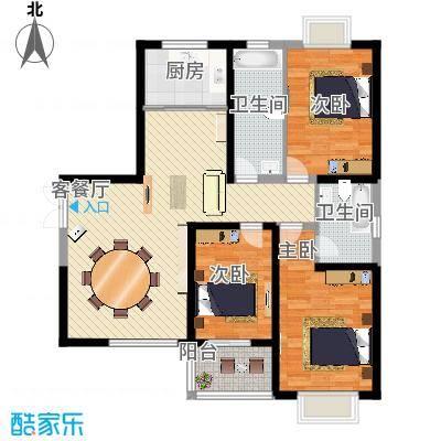 屹立温泉花园133.68㎡标准层B1户型3室2厅2卫1厨-副本