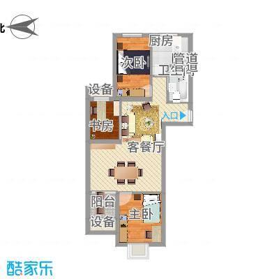 上上城青年新城G-4户型3室2厅1卫1厨-副本