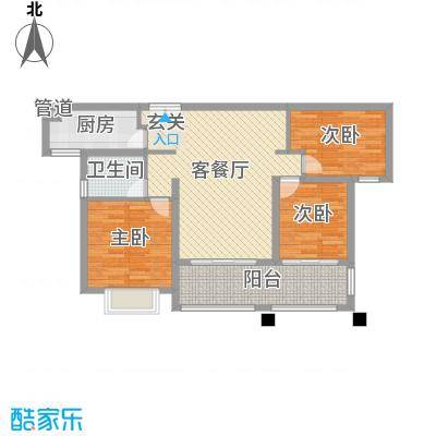 莱蒙水榭春天108.00㎡D户型(108-110㎡)家配图户型3室2厅1卫1厨-副本