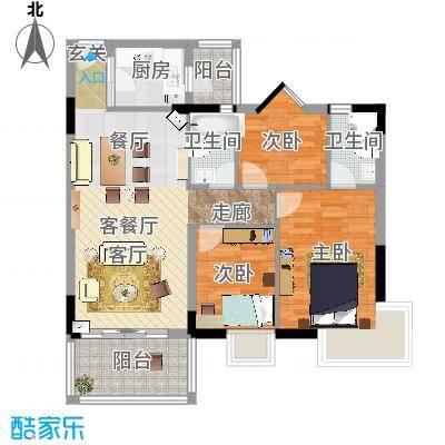翠亨豪园80.83㎡1、2、3栋户型3室1厅2卫1厨-副本