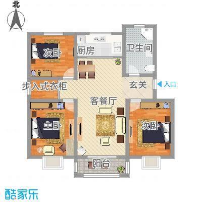 昊天龙景佳苑121.80㎡多层A户型3室2厅1卫1厨-副本