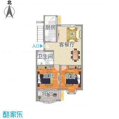 怡江春色85.00㎡J户型2室2厅1卫1厨-副本