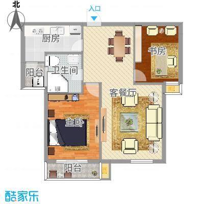 两室两厅一卫—两房朝南(中山家园85㎡)