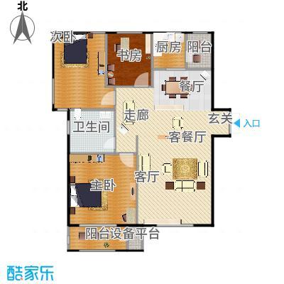 华中国宅华园132.28㎡D-8 三室两厅一卫户型3室2厅1卫-副本